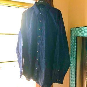 GAP men's L/S slim fit navy blue dress shirt XL
